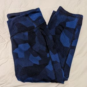 OLD NAVY Black and Blue Patterned Active Leggings